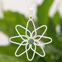 Jade flower necklace, 'Jocotenango Chrysanthemum' - Sterling Silver Flower Necklace with Light Green Jade