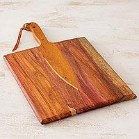 Wood cutting board, 'Chef's Knife' - Handmade Wood Chopping Board from Nicaragua