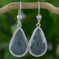 Jade dangle earrings, 'Light Green Sacred Quetzal' - Artisan Crafted Sterling Silver and Light Green Earrings