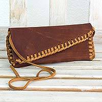 Leather shoulder bag, 'Boho Brown' - Bohemian Style Shoulder Bag Purse in Quality Brown Leather