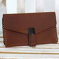 Leather clutch bag, 'Original Minimalism' - Artisan Crafted Brown Leather Clutch Bag Purse