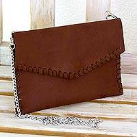 Leather shoulder bag, 'Artful Versatility' - Brown Leather Shoulder Bag-cum-Clutch Purse from El Salvador