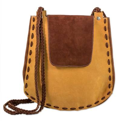 Bohemian Style Brown Leather Structured Shoulder Bag