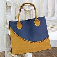 Leather tote bag, 'Wave of Yellow' - Artisan Crafted Yellow and Blue Leather Open Tote Bag