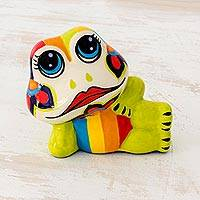 Ceramic figurine, 'Flirtatious Frog' - Colorful Handcrafted Ceramic Frog Figurine from El Salvador