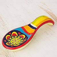 Ceramic spoon rest, 'Kitchen Sunflower' - Handcrafted Ceramic Spoon Rest from El Salvador