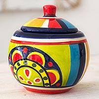 Ceramic sugar bowl, 'Kitchen Sunflower' - Handcrafted Ceramic Sugar Bowl from El Salvador