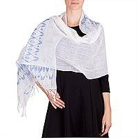 Cotton shawl, 'Blue Maize and Stars' - White Backstrap Loom Woven Cotton Shawl with Blue Stars