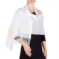 Cotton shawl, 'Golden Blessings' - Handwoven White Cotton Shawl with Yellow Pic Bil Motifs
