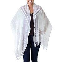 Cotton shawl, 'White Diamonds' - White on White Backstrap Loom Handwoven Cotton Shawl