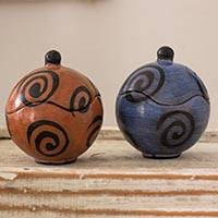 Ceramic boxes, 'Rotund' (pair) - Hand Crafted Decorative Round Ceramic Boxes (Pair)