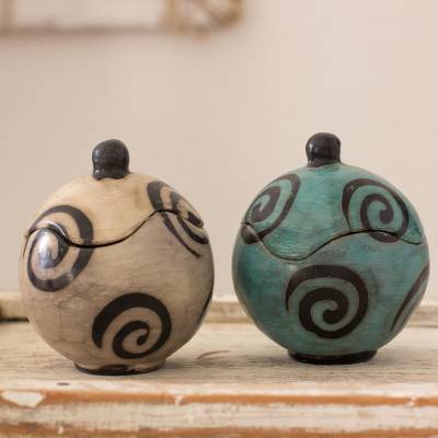 Ceramic boxes, 'Simply Spiral' (pair) - Hand Crafted Round Ceramic Boxes with Spiral Motif (Pair)