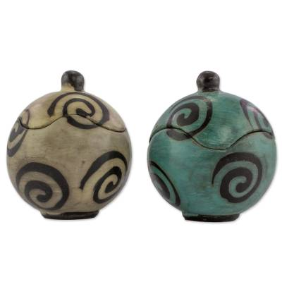 Hand Crafted Round Ceramic Boxes with Spiral Motif (Pair)