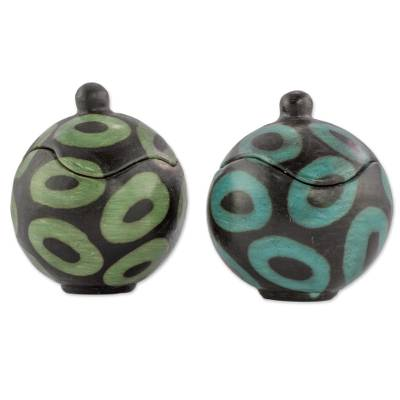 Artisan Crafted Round Ceramic Boxes from Honduras (Pair)