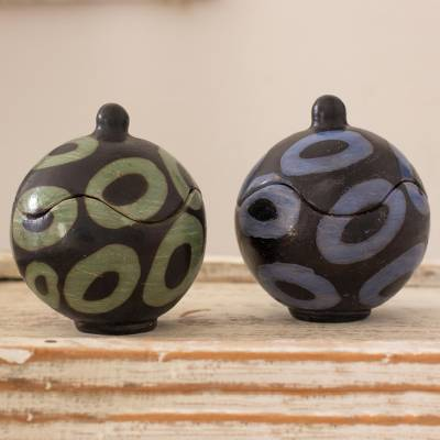 Ceramic boxes, 'Contemporary Ovals' (pair) - Artisan Crafted Round Ceramic Boxes from Honduras (Pair)