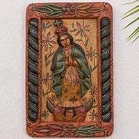 Wood relief panel, 'Mary of the Immaculate Conception' - Mary of the Immaculate Conception Rustic Wood Relief Panel