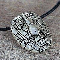 Sterling silver pendant necklace, Ancient Maya Mask