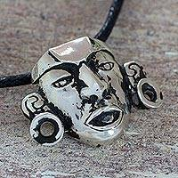Sterling silver pendant necklace, 'Ritual Mask' - Guatemalan Silver Pendant Necklace on Black Cotton Cord