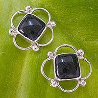 Jade button earrings,