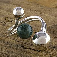 Jade wrap ring, 'Green Planet Alignment' - Modern Silver Ring from Guatemala Crafted with Green Jade