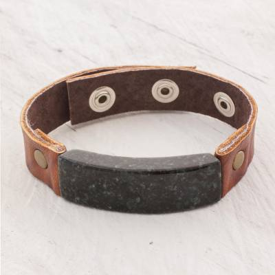 Men's jade and leather wristband bracelet, 'Dark Green Maya Fortress' - Men's Leather Wristband Bracelet with Dark Green Jade