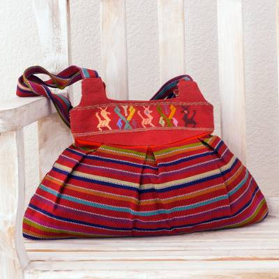Cotton shoulder bag, 'Forest Freedom' - Striped Cotton Shoulder Bag with Hand Woven Ixil Maya Glyphs