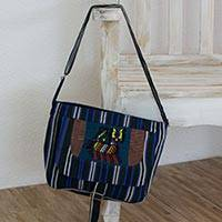 Cotton messenger bag, 'Venture and Travel' - Multicolor Horse on Hand Woven 100% Cotton Messenger Bag