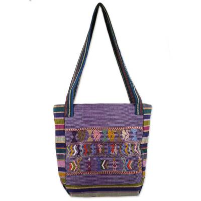 Artisan Crafted 100% Cotton Shoulder Bag Multicolor Maya Art