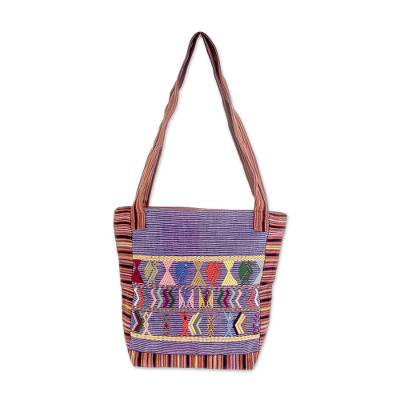 Artisan Crafted 100% Cotton Shoulder Bag Purple Multicolor