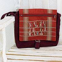 Cotton messenger bag, 'Cotzal Birds' - Maya Animal Iconography on Hand Woven Cotton Messenger Bag