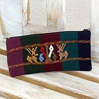 Cotton purse, 'The Deer and the Milpa' - Maya Textile Art Hand Woven Cotton Cosmetics Pouch Purse