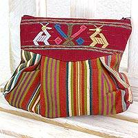 Cotton cosmetics bag, 'Sunrise Harmony' - Maya Deer and Corn on Hand Woven Cotton Cosmetics Bag