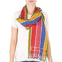 Cotton scarf, 'Birds of Guatemala' - Backstrap Loom Artisan Handwoven Striped Cotton Scarf