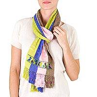 Cotton scarf, 'Patinamit Flowers' - Handwoven Cotton Scarf with Wide Textured Stripes