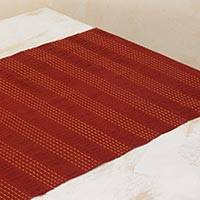 Cotton table runner, 'Maroon Legacy' - Hand Woven Cotton Table Runner in Maroon and Bronze
