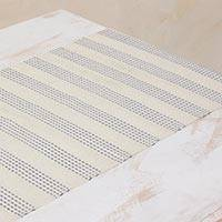 Cotton table runner, 'Ivory Legacy' - Ivory and Blue Hand Woven Cotton Guatemalan Table Runner