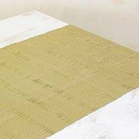 Cotton table runner, 'Green Legacy' - Hand Woven Cotton Guatemalan Table Runner in Green