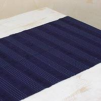 Cotton table runner, 'Blue Legacy' - Hand Woven Cotton Navy Blue Table Runner from Guatemala