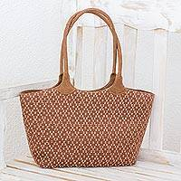 Cotton and leather accent shoulder bag, 'Midday Diamonds' - Brown Beige Hand Woven Cotton Leather Accent Shoulder Bag