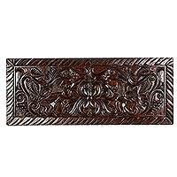 Wood relief panel, 'Guardian Lions' - Artisan Crafted Wood Relief Panel with Lion Motif