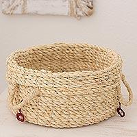 Maguey fiber basket, 'Red Ecology' - Fair Trade Guatemalan Handmade Maguey Basket by Woman Artisa