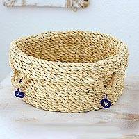 Maguey fiber basket, 'Blue Ecology' - Hand Crafted Agave Fiber Basket from Central America