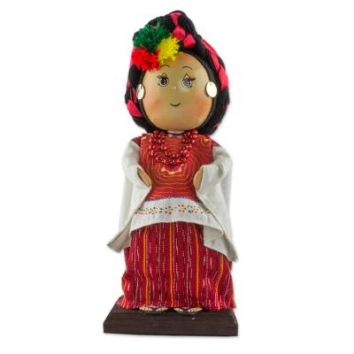 Guatemalan Collectible Display Doll with Traditional Attire