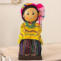 Pinewood and cotton display doll, 'Quetzaltenango' - Guatemalan Collectible Doll with Traditional Huipil Attire