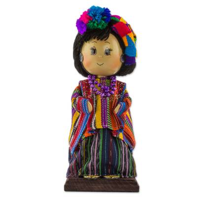 Pinewood and cotton display doll, 'Zunil' - Guatemalan Collectible Display Doll with Traditional Dress