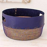 Leather and pine fiber basket, 'Vibrant' - Artisan Crafted Blue Leather and Pine Decorative Basket
