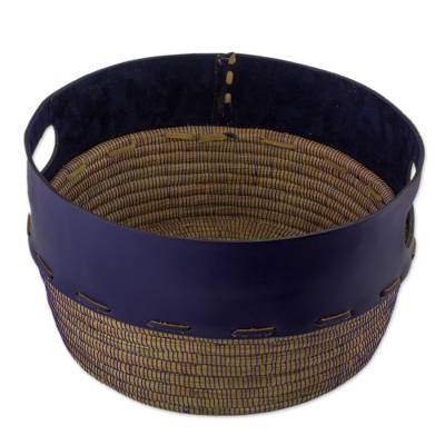 Artisan Crafted Blue Leather and Pine Decorative Basket