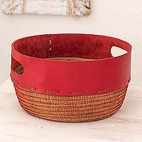 Leather and pine fiber basket, 'Vibrant Red' - Hand Crafted Red Leather and Pine Basket from Nicaragua