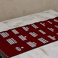 Cotton table runner, 'Red Maya Math' - Handwoven Red Cotton Table Runner with Maya Numbers