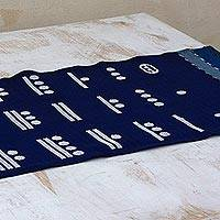Cotton table runner, 'Blue Maya Math' - Blue Cotton Handwoven Table Runner with Maya Numbers